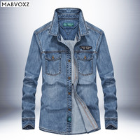 Jeans Denim Mens Shirt Fabrics Breathable Wear resistant Cowboy Male Shirts Long Sleeve High Quality Plus Size 4XL New 2018