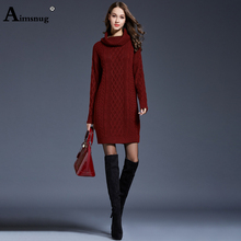 Plus size 3xl 4xl Solid Wine Red Natural Waist Thick Section Women's Sweater Dress Turtleneck Female Pullover Sweater Dress цена