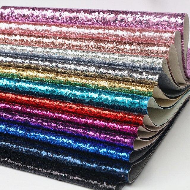 1 PCS 21X29 CM A4 Chunky Glitter de Couro Sintético, couro DO PLUTÔNIO Glitter Tecido para Acessórios DIY Fontes Do Ofício