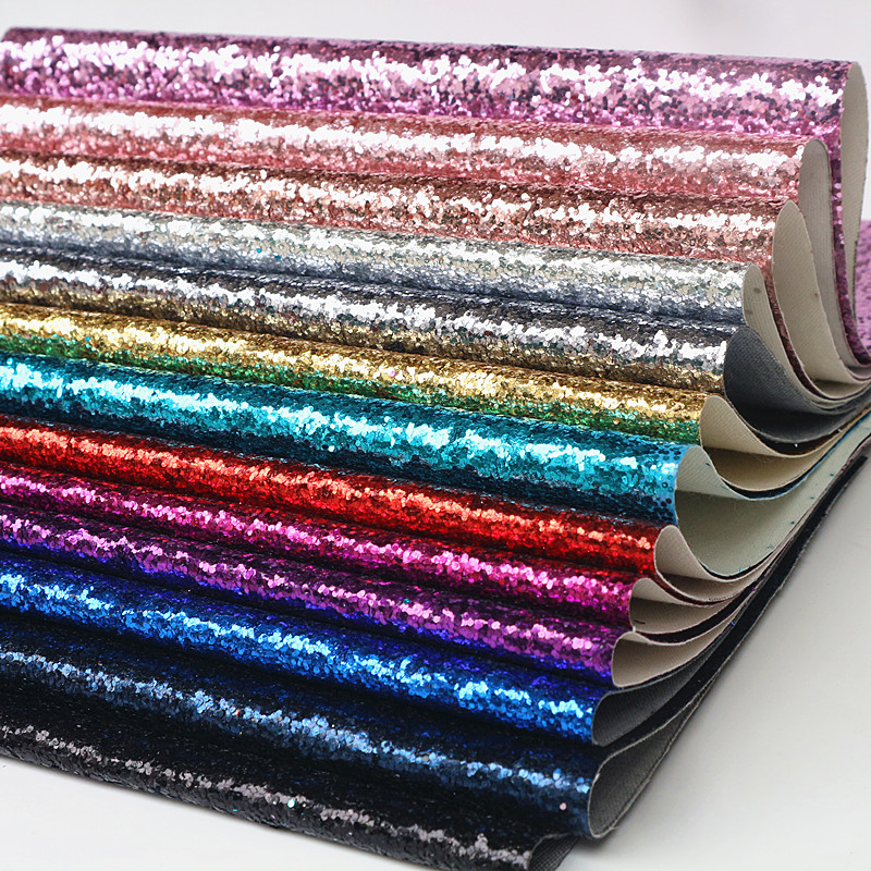 Glitter Pu Leather Fabric For Diy Accessories Craft Supplies To Be Distributed All Over The World Synthetic Leather Home & Garden Constructive 1pcs 21x29cm A4 Chunky Glitter Synthetic Leather