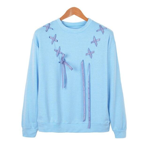 Leuke Truien Dames.Blauw Lint Boog Leuke Sweatshirts Vrouwen Trainingspak Lange Mouw