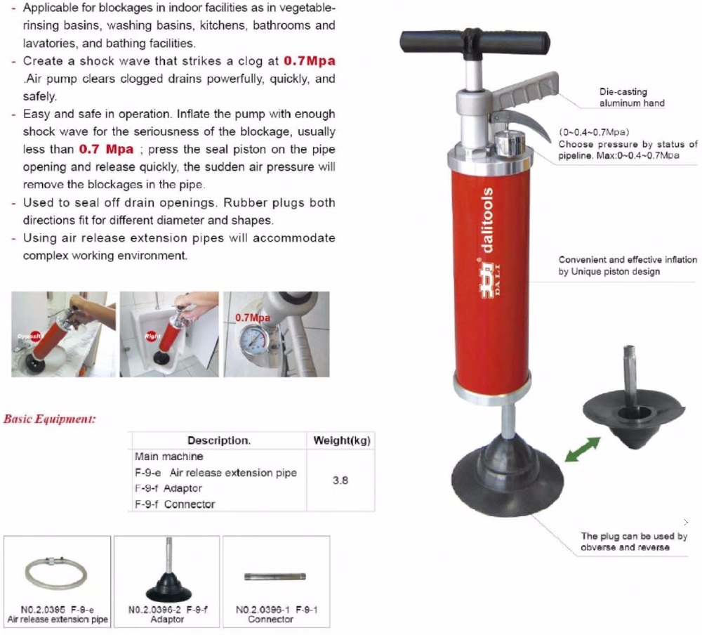 Pneumatic Drain Cleaner Professional Handy Powerful Pressure Pump Toilet Bath Pipe Drain font b Closet b