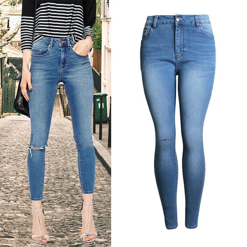 Mujeres Vaqueros cintura alta moda rodilla ripped lápiz elástico  estiramiento tobillo-longitud sexy skinny elegante verano Mujer azul  vaqueros 5ba6c842d761