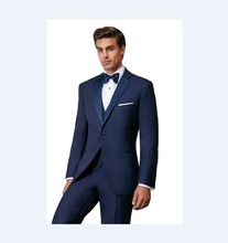 New Arrival Groomsmen Notch Satin Lapel Groom Tuxedos Navy Blue Men Suits Wedding Best Man Blazer (Jacket+Pants+Tie+Vest) B946