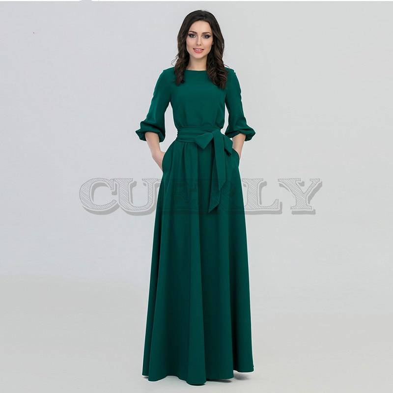 CUERLY spring summer woman O-Neck long dress bohemian style slim vintage three quarter lantern sleeve casual