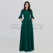 CUERLY spring summer woman O-Neck long dress bohemian style slim vintage three quarter lantern sleeve casual