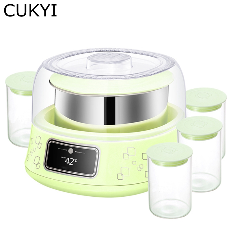 CUKYI 10W Household Electric Automatic yogurt machine 1L capacity Stainless steel liner Mini Multiple functional Yogurt maker cukyi automatic electric slow cookers purple sand household pot high quality steam stew ceramic pot 4l capacity