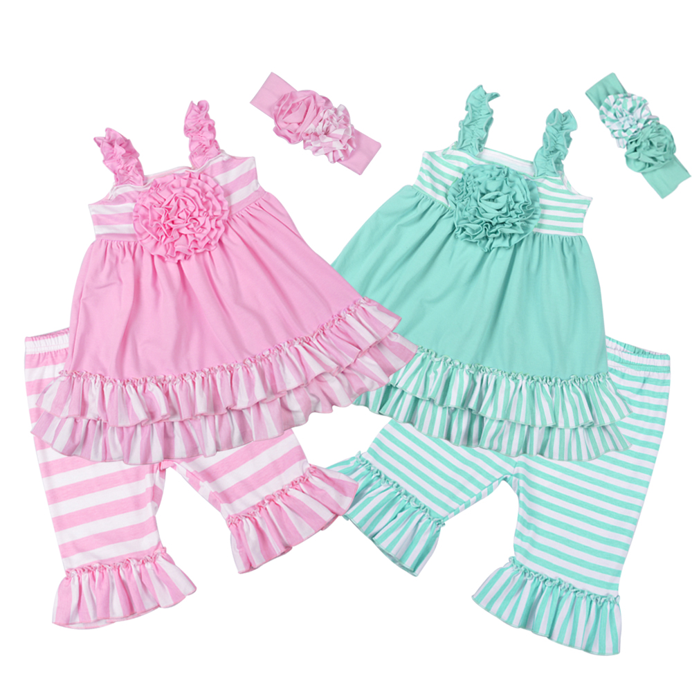 Factory Selling Girls Summer Remake Clothing Sets Sleeveless Top Design Stripes Capris Childrens Ruffle Sets 2GK801-104/120Factory Selling Girls Summer Remake Clothing Sets Sleeveless Top Design Stripes Capris Childrens Ruffle Sets 2GK801-104/120