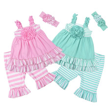 Factory Selling Girls Summer Remake Clothing Sets Sleeveless Top Design Stripes Capris Children's Ruffle Sets 2GK801-104/120(China)