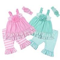 Factory Selling Girls Summer Remake Clothing Sets Sleeveless Top Design Stripes Capris Children's Ruffle Sets 2GK801 104/120