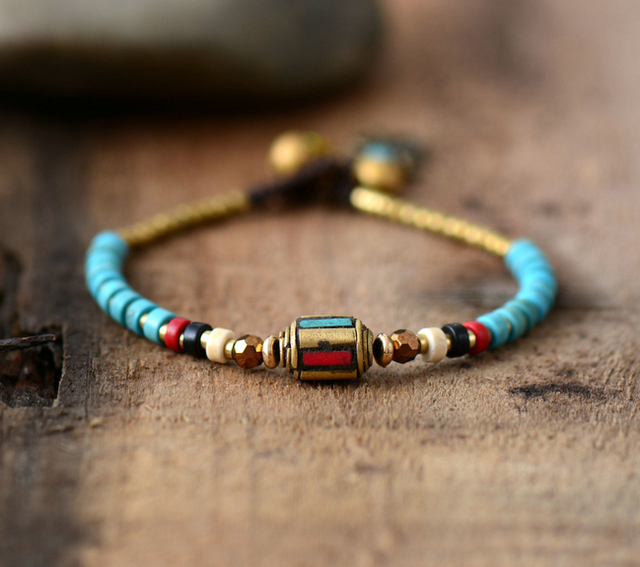 Women Boho Bracelets Handmade Stones Nepal Charm Wax Cord Simple Friendship Bracelet Gift Dropshipping Jewelry
