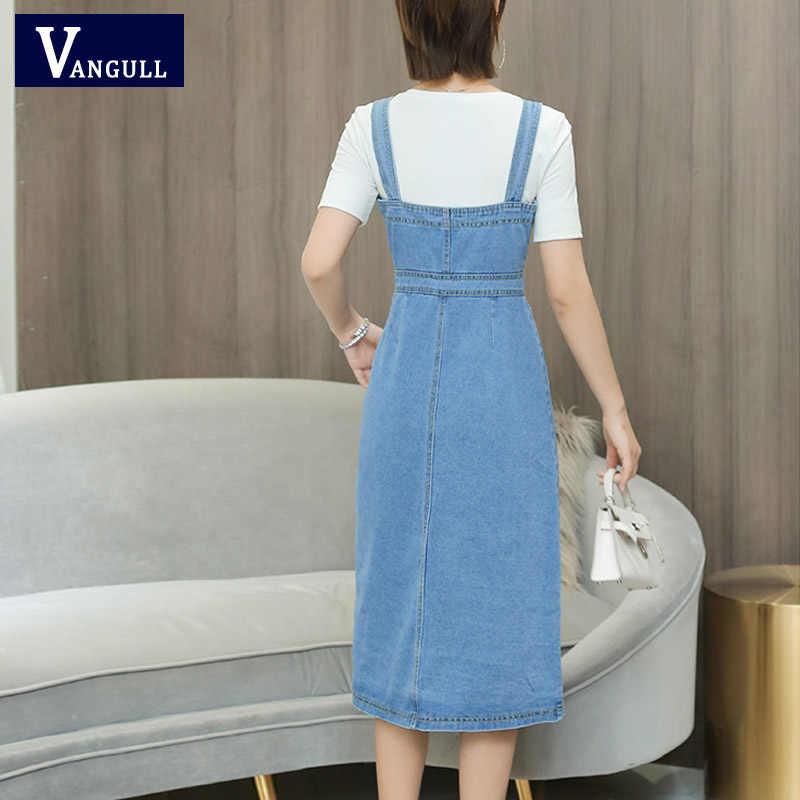 Vangull Лето Осень женское джинсовое платье 2019 новый сарафан комбинезон платье винтажное синее сексуальное облегающее женское джинсовое платье