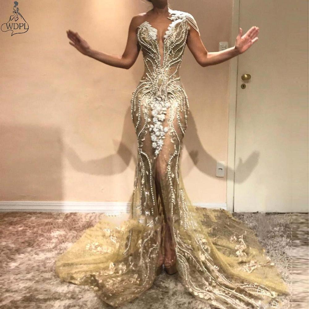 2019 Chic Beading Pearls One Shoulder Mermaid Prom Dresses Lace Appliqued Front Split Evening Gowns Party Pageant Formal Dress(China)