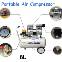 Noisy Less Light Tool Portable Air Compressor 0.7MPa Pressure 8L Air Pool Cylinder Economic Speciality of Piston Filling Machine