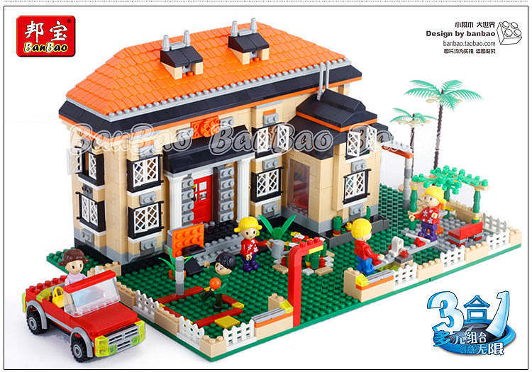 Banbao Model building kits compatible with lego city 3in1 Rhine Villas 861 3D blocks Educational toys hobbies for children banbao model building kits compatible with lego city train transport 977 3d blocks educational toys hobbies for children