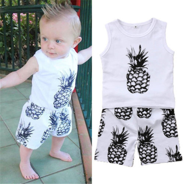 d2d88b4ed Newborn Toddler Kids Cute Baby Boys Clothes Cotton Vest Tank Tops T ...