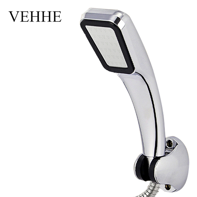 VEHHE High Pressure HandHeld Shower Head Chrome-Plate Panel Streamline Water Saving Square Bathroom 300 Holes Shower Head VE223