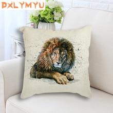 Linen Cushion Black Panther Lion Tiger Bison Watercolor Paint Pillow Throw 45x45cm Nordic Decorative for Sofa