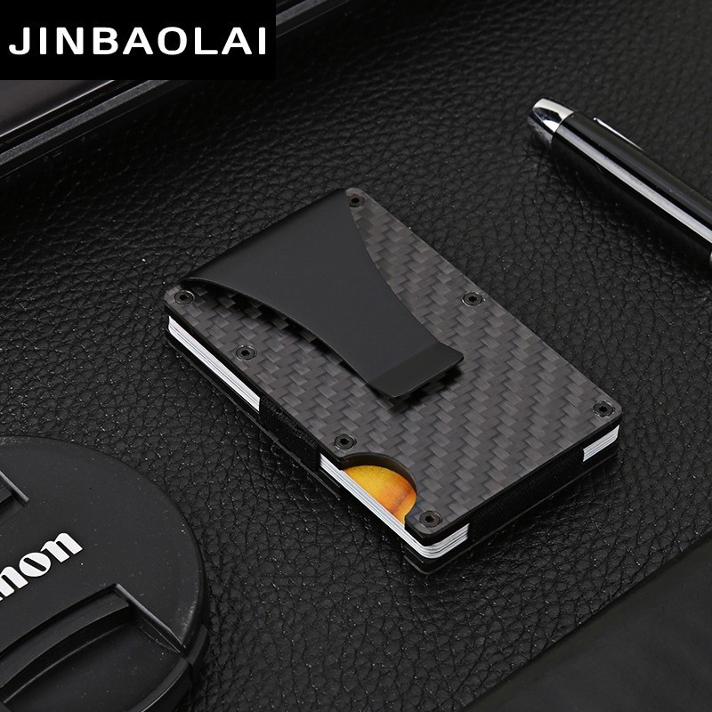 Carbon Fiber Men Credit Card Holder Anti Protect Blocking Rfid Wallet Portable ID Card Holder Clip Porte Carte Travel Metal Case rfid blocking genuine leather men card holder male credit card case bank id card bag luxury wallet high quality porte carte