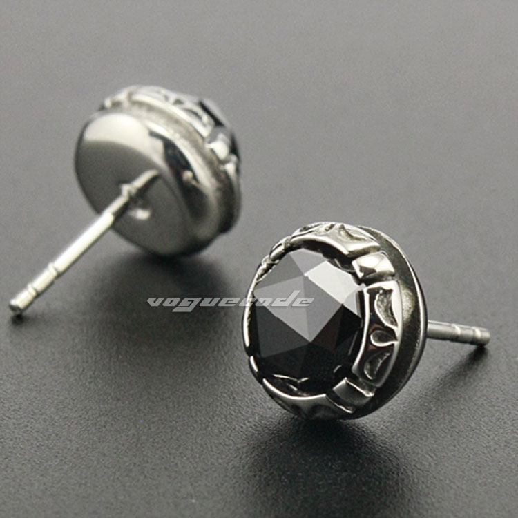 316L Stainless Steel Black CZ Mens Stud Earrings 3L001(2 Pieces)