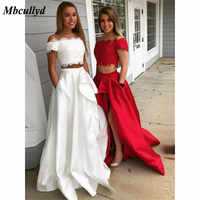 Mbcullyd Two Pieces White Prom Dresses 2019 Elegant Applique Lace Red Vestido De Festa Formal Evening Party Gowns With Pocket