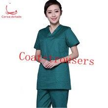 細かい手洗浄服のための医師、看護師、男性と女性は別個のスーツ孤立服純粋な綿