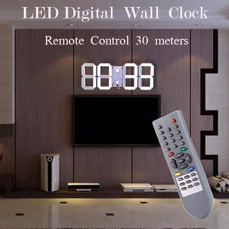 Promotion! Large Led Wall Clock Home Design Show Time Temperature On The Wall In The Living Room Digital Clock for Home Decor (10)