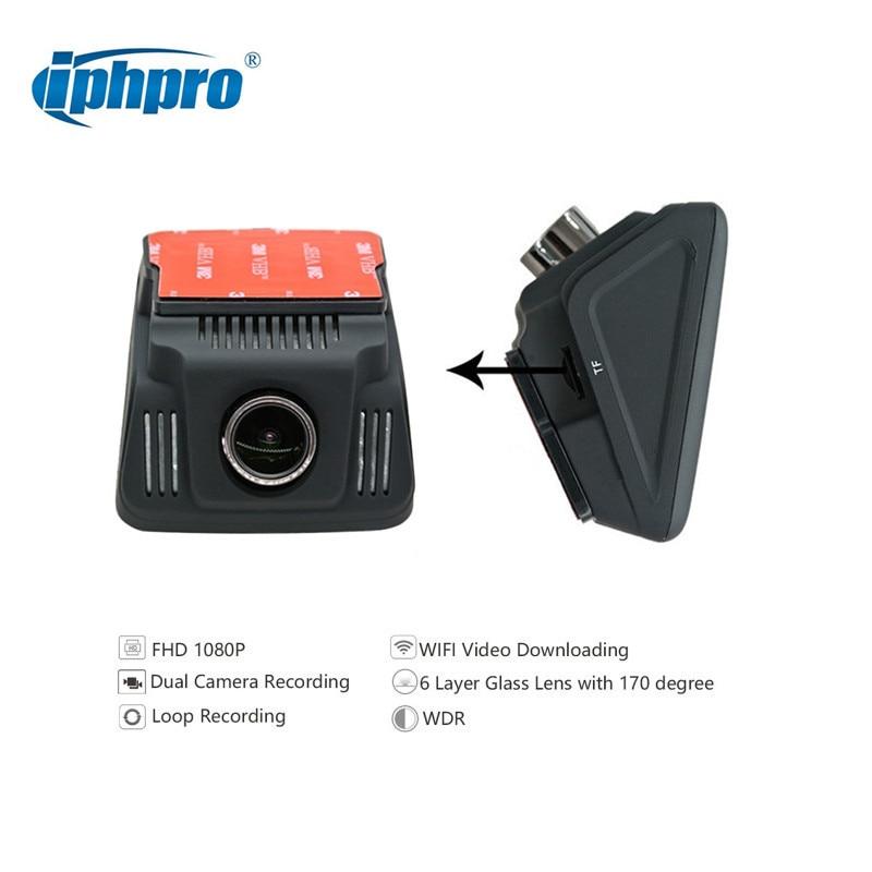 IPHPRO 170 G-sensor Full-HD Dash Cam Dual Camera Car DVR Video Resolution 1920 * 1080P 2.4 inch Car Dash Camera Driving Recorder gt2000 auto registrator 3 inch full hd 1080p dash cam car dvr 170 degree h 264 video g sensor video recorder camera