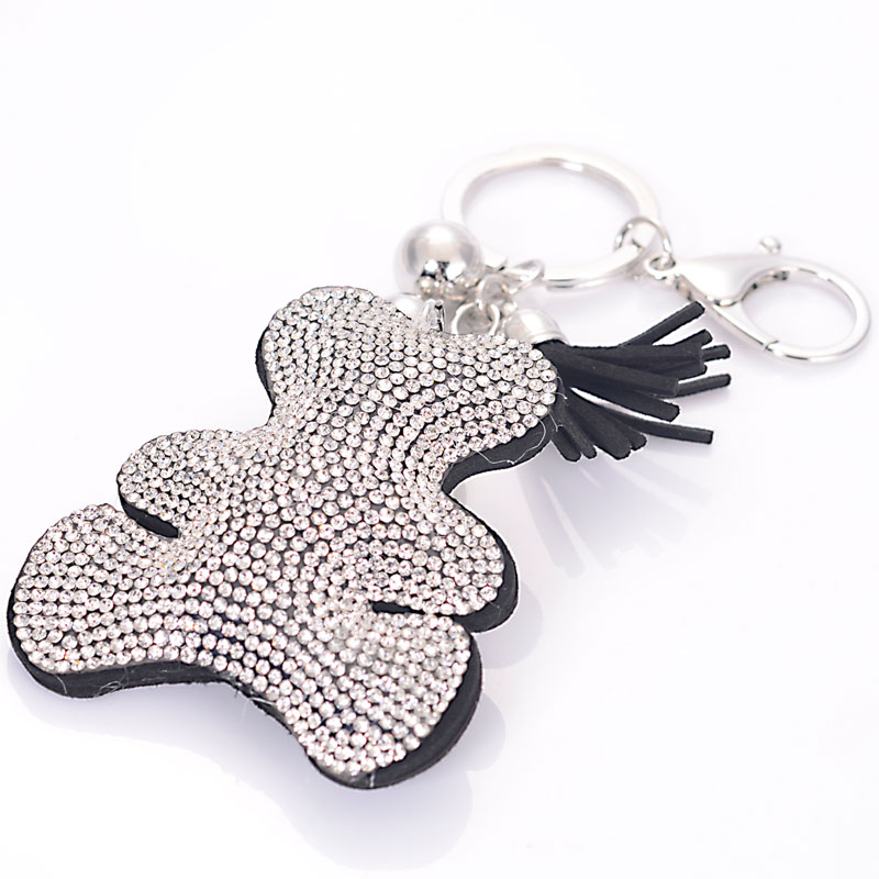 Newest Fashion Pave Crystal Bear And Tassels Key Chain For Women Girl Hand Bag Keychain Charm Pendant Jewelry Aceessories