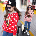 teenage girls sweatshirt autumn and winter kids hooded child outerwear plus cotton thickening christmas deer dot print hoodies