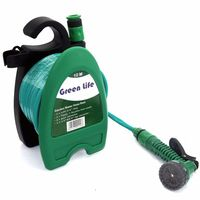 A 8%Mini Garden Water Hose Reel Portable Car Washing Kit Wall Mountable Hose Reel+10m Hose Water Nozzle For Pet Garden