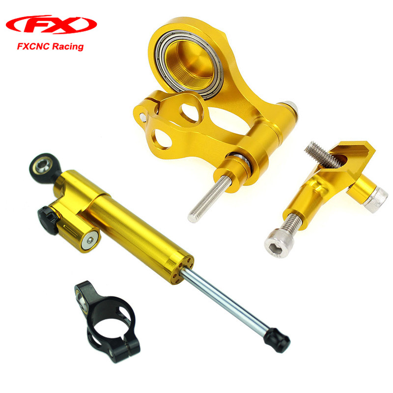 FXCNC for Yamaha YZF R6 2006-2015 Motorcycle Steering Damper Stabilizer Mounting with Brackets Kits Gold 2014 2013 (for Yamaha) fxcnc aluminum motorcycle steering stabilizer damper mounting bracket support kit for yamaha fz1 fazer 2006 2015 2007 2008 09