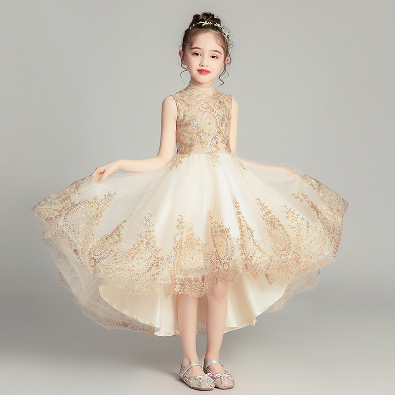 Girl's Wedding Party Foreign-style Petticoat Dresses Children's Birthday Show Wedding Dresses Little Girl's Piano Show Dresses