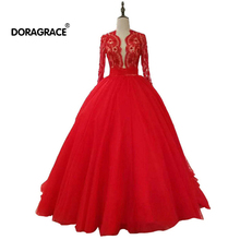 Doragrace Glamorous A Line 3/4 Sleeve Beaded Lace Evening Dresses Prom Gowns Plus Size