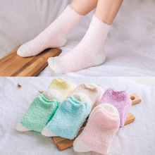 3pairs/pack New Style Winter Coral Velvet Thicken Warm Socks Solid Color Absorbent Anti-friction Socks Hosiery Factory Outlets