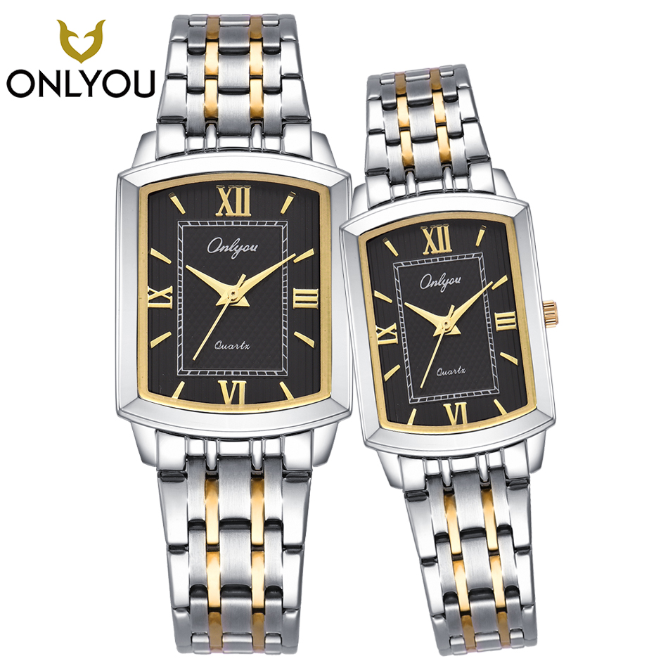 Men Watches Top Brand Luxury Square Silver Steel Band Watch Lovers Watch Waterproof Quartz Watch Dress Womens Watches Gift Box