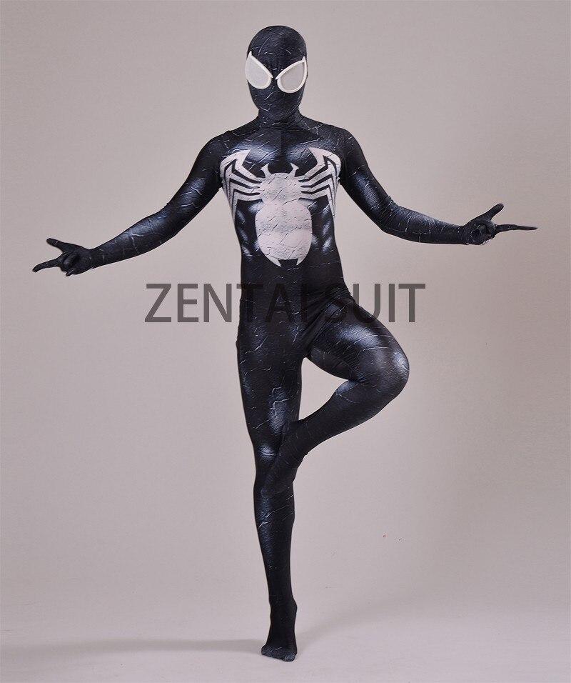 Venom Spider-man Costume Spandex 3D Տպագրություն Սև - Կարնավալային հագուստները - Լուսանկար 2