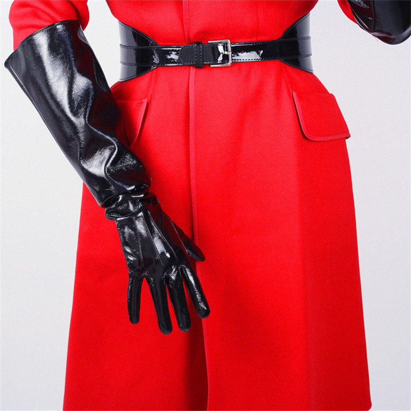 50cm Long Leather Gloves Wide Cuff Lantern Sleeve Simulation Leather Three Bars White Black Woman Patent Leather PU Gloves WPU06
