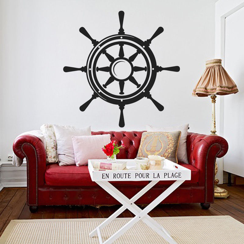 ᗐEco-Friendly Ship Steering Wheel Wall Sticker Nautical Living Room ...
