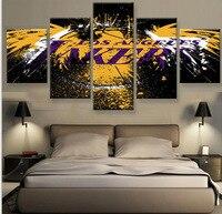 5 Pieces Set LA Lakers Canvas Prints HD Painting Wall Art Home Decor Panels Sport Poster