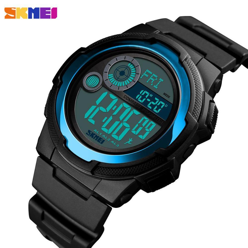 Herrenuhren Digitale Uhren Skmei Outdoor Sport Uhr Männer Digitale Uhr 5bar Wasserdichte Multifunktions Kompass Mode Uhren Relogio Inteligente 1424