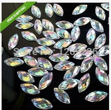 Loose beads 400pcs 6*12mm Clear AB Sew On Acrylic Crystal Rhinestone Navette Shape Flatback strass Diamond Gemstone for dress
