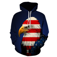 2018 New Fashion Cool Sweatshirt Hoodies Men Women 3D Printed Blue Eagle American Flag Hot Style