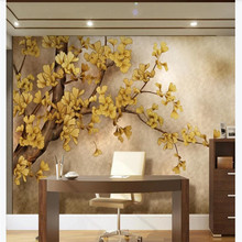 Custom wallpaper hand-painted Chinese ginkgo tree TV background wall painting waterproof material