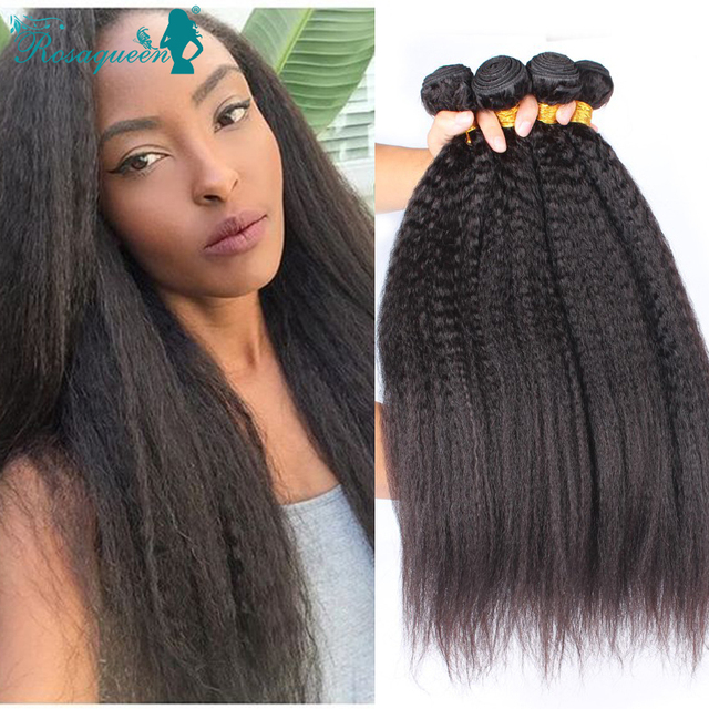 3 Bundles Kinky Straight Hair Weaves Filipino Virgin Italian Coarse Yaki Human Hair Extensions Straight Coarse Yaki Hair