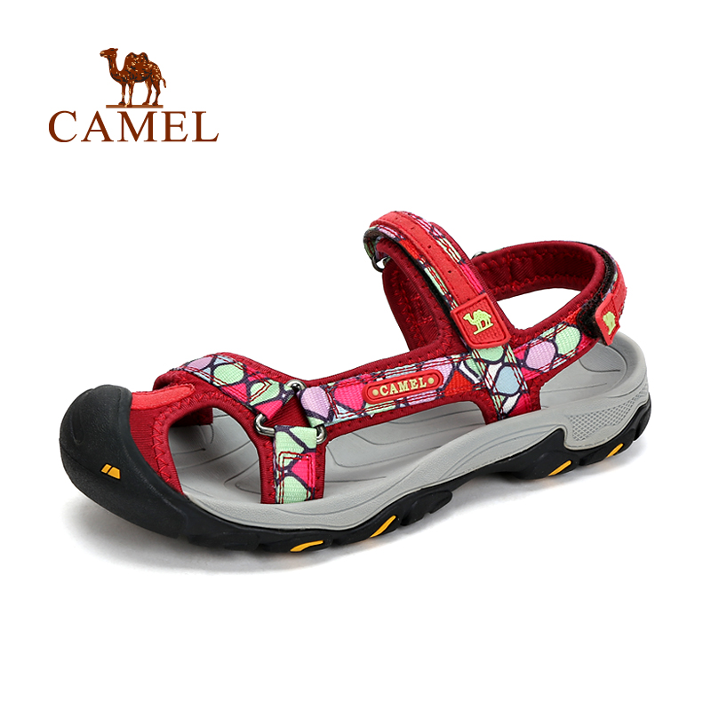 2016 New Design Women Sandals Camel Outdoor Women Slip-resistant Breathable Beach Sandals Quick-drying A61309606 camel men s outdoor anti collision toe cap cowhide casual beach sandals summer breathable river sandal male a622309222