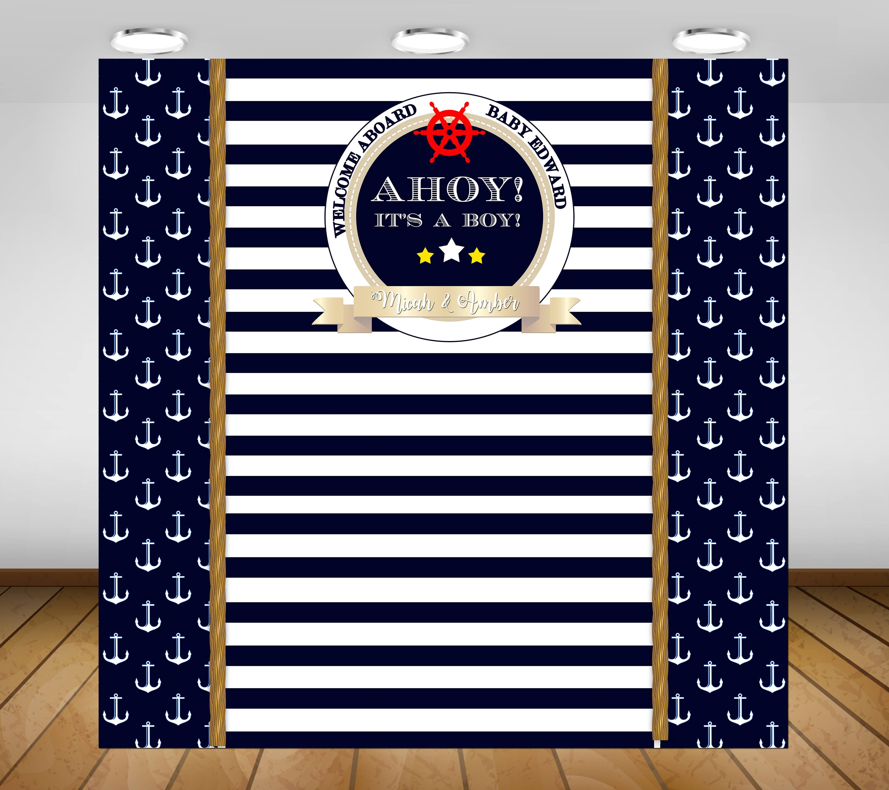 custom nautical black and white striped photography studio background High quality Computer print birthday backdrops