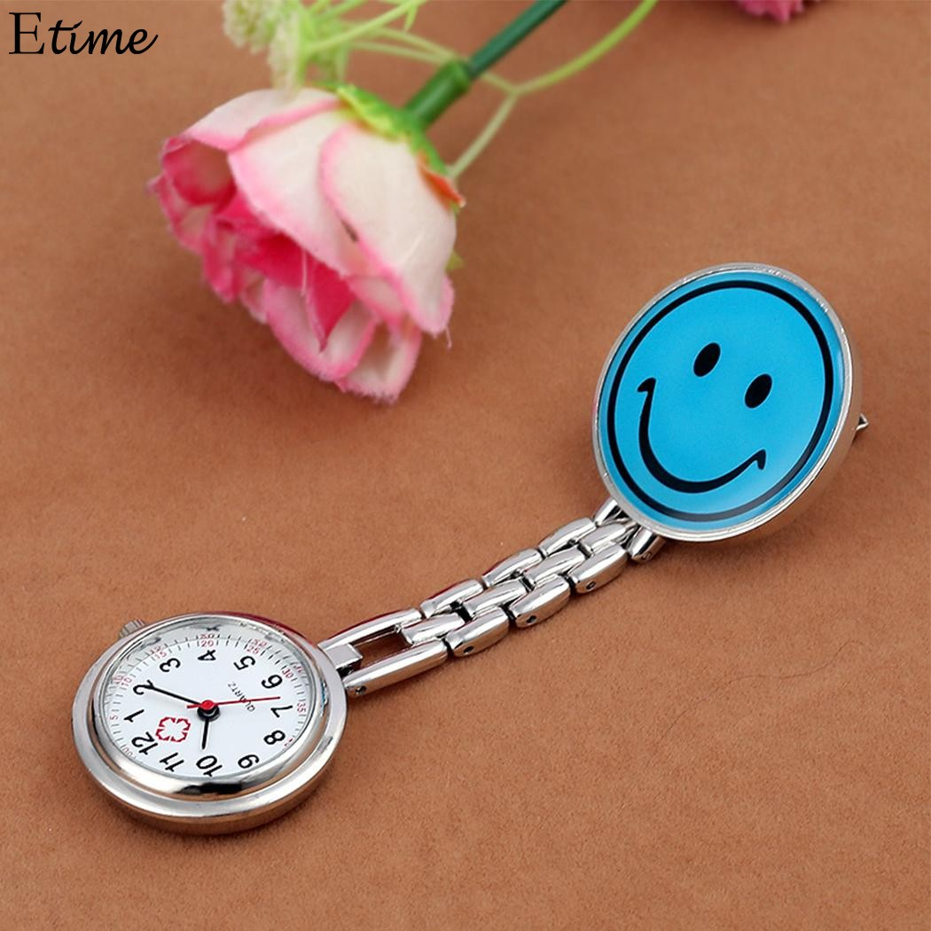 Pocket Watch Smiley Nurse Watch relogio de bolso Clip-on Fob Brooch Pendant Hanging Watch Round Pocket Watches new steam punk skull pocket watch quartz movement for watch hanging chain pendant necklace watch relogio de bolso