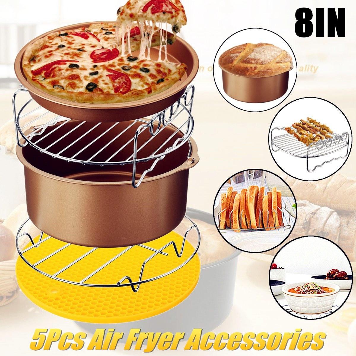 5 pz/set 8 pollice Aria di Frittura Pan Accessori Friggitrice di Cottura Cestino Piastra Pizza Griglia Pentola Zerbino Multi-funzionale Cucina accessori Hot