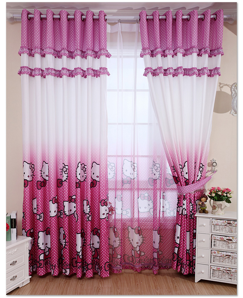 home decoration curtain pink hello kitty childrens bedroom curtains blind girl child curtains for window free shipping - Decoration Hello Kitty Chambre